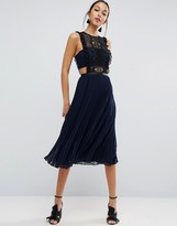 Asos Lace Pinafore Pleated Midi Dress