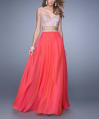 La Femme Women's Special Occasion Dresses Watermelon - Watermelon Beaded-Top Two-Piece V-Neck Gown - Women