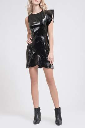 J.o.a. Faux Leather Wrap Ruffle Mini Dress