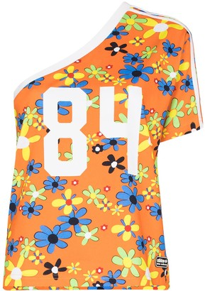 adidas x Lotta Volkova Ringer one-shoulder floral-print T-shirt