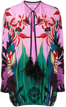 Valentino feather-embellished Mirrored Orchid Ramage blouse