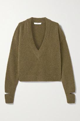 Tibi Cropped Alpaca-blend Boucle Sweater - Army green