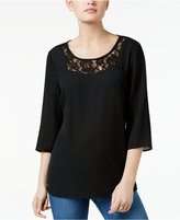 NY Collection Petite Lace-Detail Dobby Top