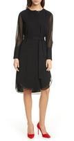 Club Monaco Long Sleeve Shirttail Silk Chiffon Dress