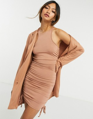 ASOS DESIGN 2 in 1 ruched racer neck mini dress with ponte oversized blazer in mocha