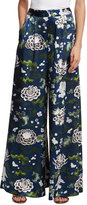 ADAM by Adam Lippes Floral-Print Wide-Leg Satin Pants, Blue Pattern