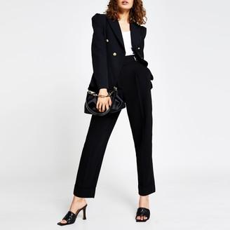 River Island Womens Black tuck waist gold button blazer