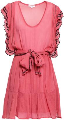IRO Ruffled Embroidered Georgette Mini Dress