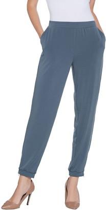 Susan Graver Petite Liquid Knit Jogger Pants w/ Zipper Detail