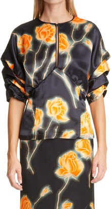 Meryll Rogge Gathered Sleeve Neon Rose Print Blouse