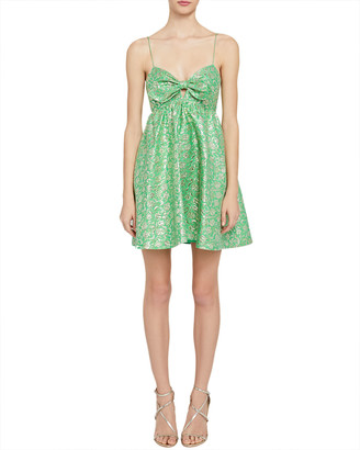 Alice + Olivia Melvina Metallic-Jacquard Babydoll Dress