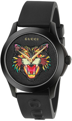 Gucci 38MM G-Timeless Feline Head Motif Watch in Black & Multicolor | FWRD