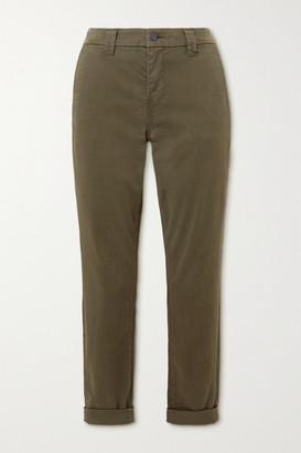 J Brand Paz Brushed Cotton-blend Slim-leg Pants - Green