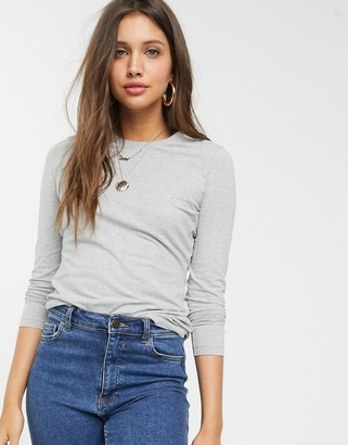 Asos Design DESIGN ultimate organic cotton long sleeve crew neck t-shirt in gray marl