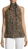 Ramy Brook Tanzania High-Neck Sleeveless Scarf-Tie Top
