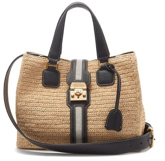 Mark Cross Riviera Leather & Gold-plated Raffia Tote Bag - Black Multi