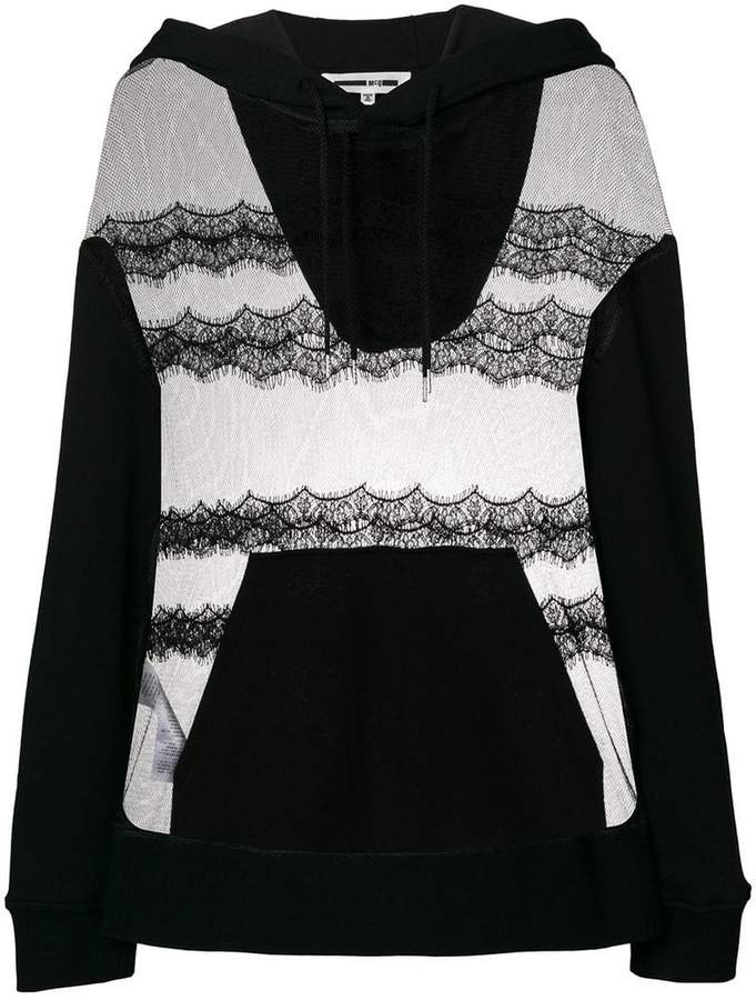 McQ sheer lace hoodie