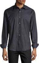 Bugatchi Dot-Print Sport Shirt, Black