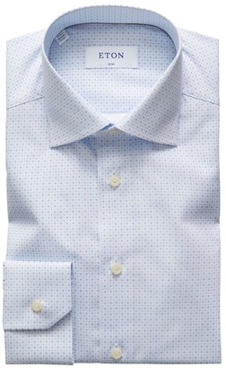 Eton Slim-Fit Micro Print Dress Shirt