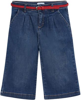 Mayoral Girl's Belted Denim Culottes, Size 4-8