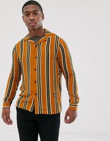 Religion revere collar shirt in mustard stripe