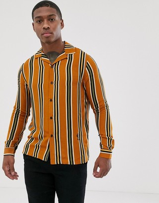 Religion revere collar shirt in mustard stripe-Yellow