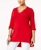 Belldini Plus Size Studded High-Low Tunic
