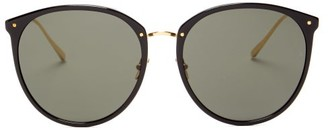 Linda Farrow Kings Round Acetate & 18kt Gold-plated Sunglasses - Black Gold