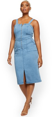 New York & Co. Denim Pinafore Dress - Light Wash