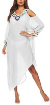 Look Fashion Women's Swimsuit Coverups White - White Crochet-Accent Cutout-Shoulder Long-Sleeve Cover-Up