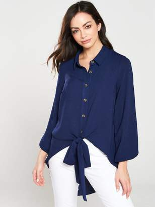Very Washed Linen Button Through Knot Front Blouse -Blue