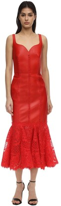 Alexander McQueen Leather & Lace Peplum Midi Dress
