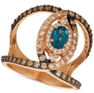 LeVian Le Vian Deep Sea Blue Topaz (1/2 ct. t.w.) & Diamond (1 ct. t.w.) Ven Statement Ring in 14k Rose Gold