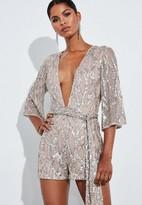 Missguided Gold Sequin Kimono Plunge Romper