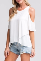 Lush White Cold-Shoulder Top
