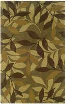 "Linon Trio Rectangular Rug in Green and Brown - 1'10"" x 2'10"""