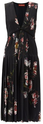 Altuzarra Bonnie Floral-print Crepe Midi Dress - Black