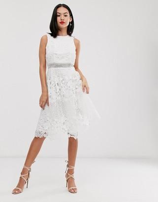 Chi Chi London lace midi skater dress in white