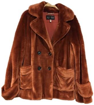 Armani Jeans Orange Faux fur Coat for Women