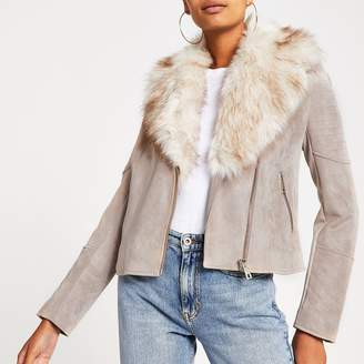 River Island Womens Beige faux fur trim biker jacket