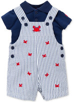 Little Me 2-Pc. Cotton Polo Shirt & Crabs Overall Set, Baby Boys (0-24 months)