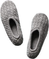 Portolano Light Grey Cable-Knit Wool & Angora Slippers