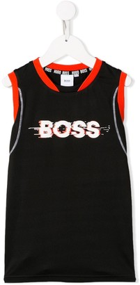 Boss Kids Logo Print Sleeveless Top