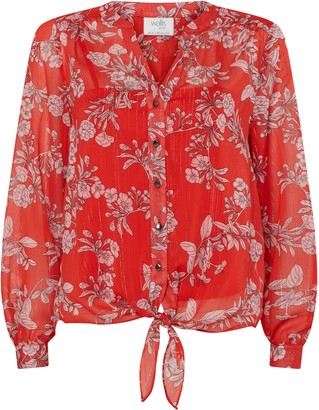 Wallis PETITE Red Floral Print Tie Front Shirt