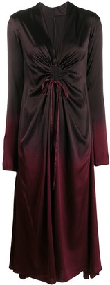 Masnada Cutout-Detail Ombre Satin Midi Dress
