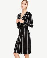 Ann Taylor Petite Stripe Matte Jersey Wrap Dress