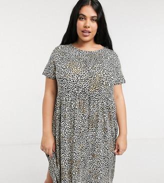 Wednesday's Girl Curve midi smock dress in leopard print