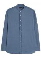 Lardini Blue Grandad-collar Cotton Shirt