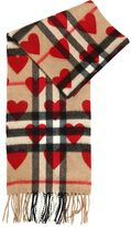 Burberry Hearts Print Check Cashmere Scarf