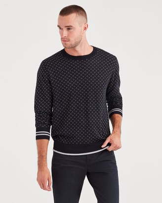 7 For All Mankind Micro Jacquard Sweater in Black Heather